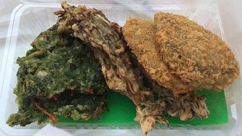 あおさ天ぷら もずく天ぷら もずくコロッケ
